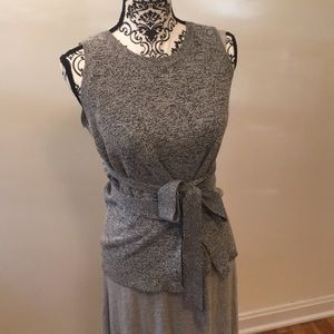 Wrap Strapless Gray Heathered Knit Top